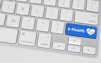 Blue E-Health Button on White Computer Keyboard