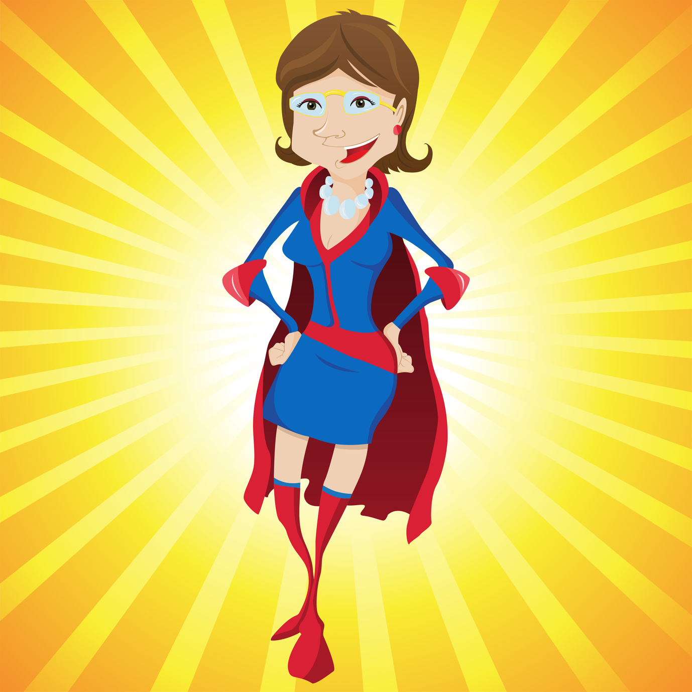 Super Woman Mother Cartoon with Yellow Background. Editable Vector Illustration
