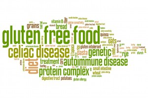Gluten free food concepts word cloud illustration. Word collage concept.