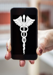 Mobile concept healthcare and medicine: Woman hands with signs of health in the mobile phone screen
