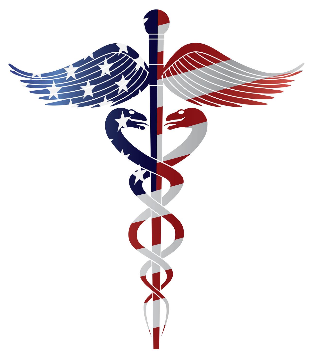 Caduceus Medical Symbol with USA Flag